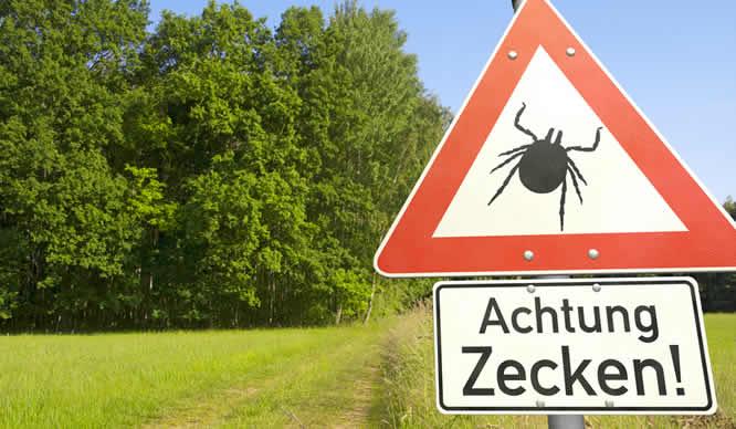 Ein Schild, das vor Zecken warnt
