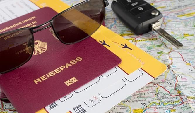 Reiseunterlagen für den Urlaub