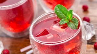 Zwei Gläser eisgekühlter Cranberry-Saft